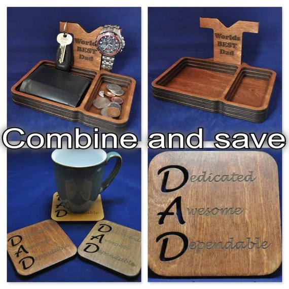 Wooden Valet Tray with removable Back Stand and Matching Acrostic Dad Coaster