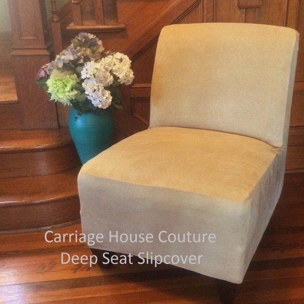 Slipcover Beige Suede Chair Cover Armless Slipper