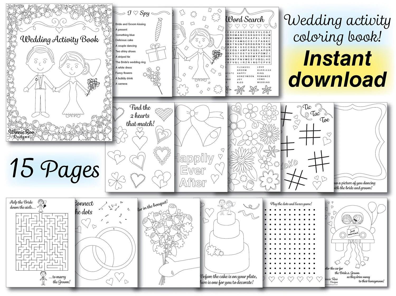 Wedding Kids Coloring Activity Book Wedding coloring book