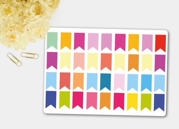 Mini Page Flag Stickers Planner Blank