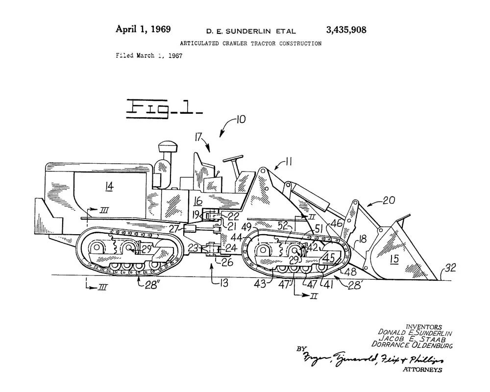 Articulated Crawler Tractor Construction Patent Art Print