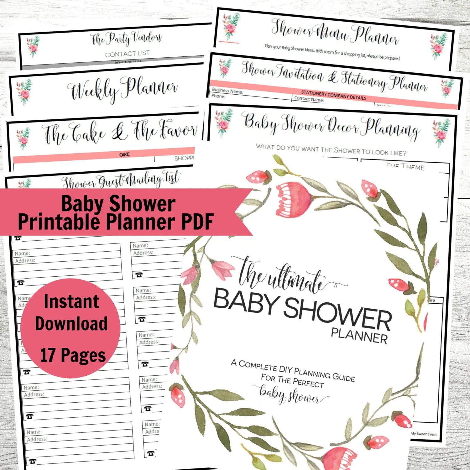 Baby Shower Planner Printable Baby Shower Party Planner