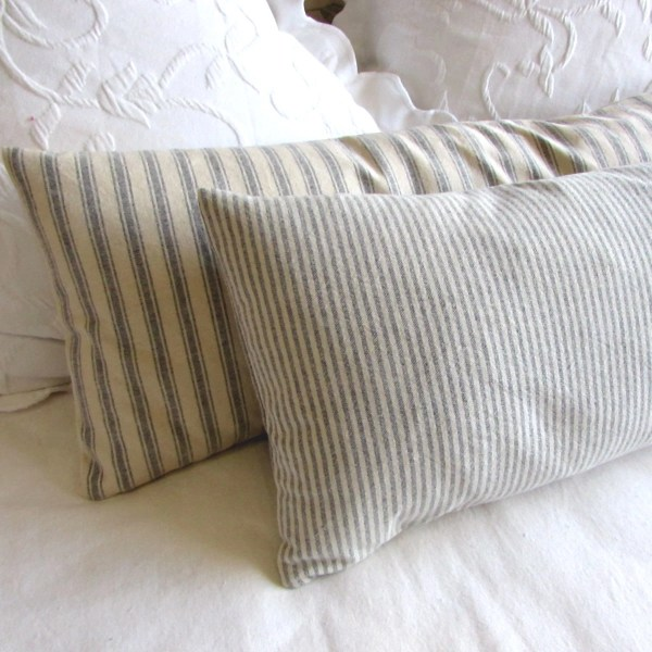 French Ticking Bolster Pillow Daybed Size 11x36 In 1 8