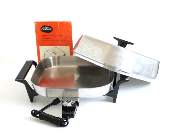 Vintage Sunbeam Electric Frying Pan Skillet Stainless Steel
