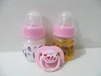 2 Reborn Baby Doll Preemie Bottles 2oz Pink Fake Milk & Juice