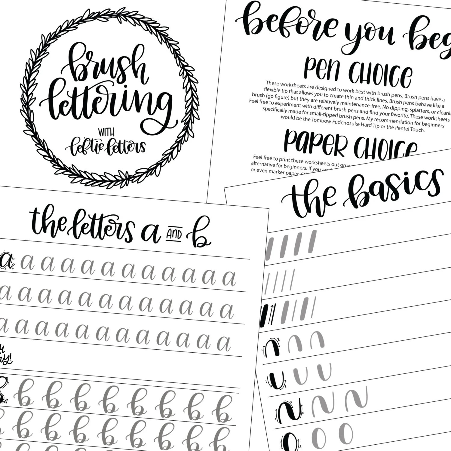 Brush Lettering Worksheets Learn Brush Lettering Lowercase