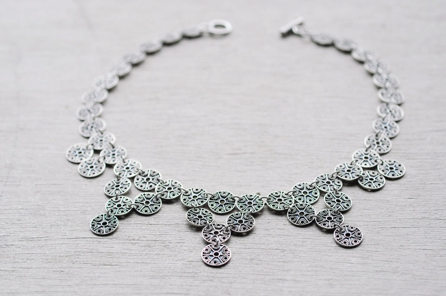 Chain Mail Granulation Statement Necklace Sterling Silver