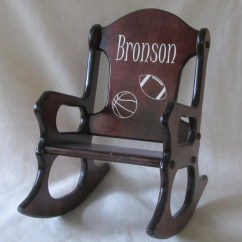 Personalized Rocking Chair For Toddlers High That Hangs On Table Wooden Kids Sports Cherry Finish