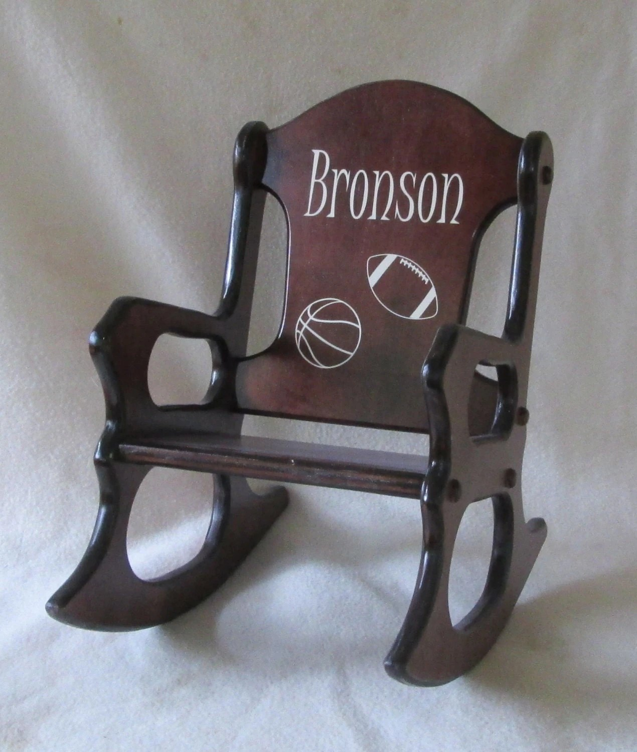 personalized little kid chair swivel outdoor wooden kids rocking sports cherry finish