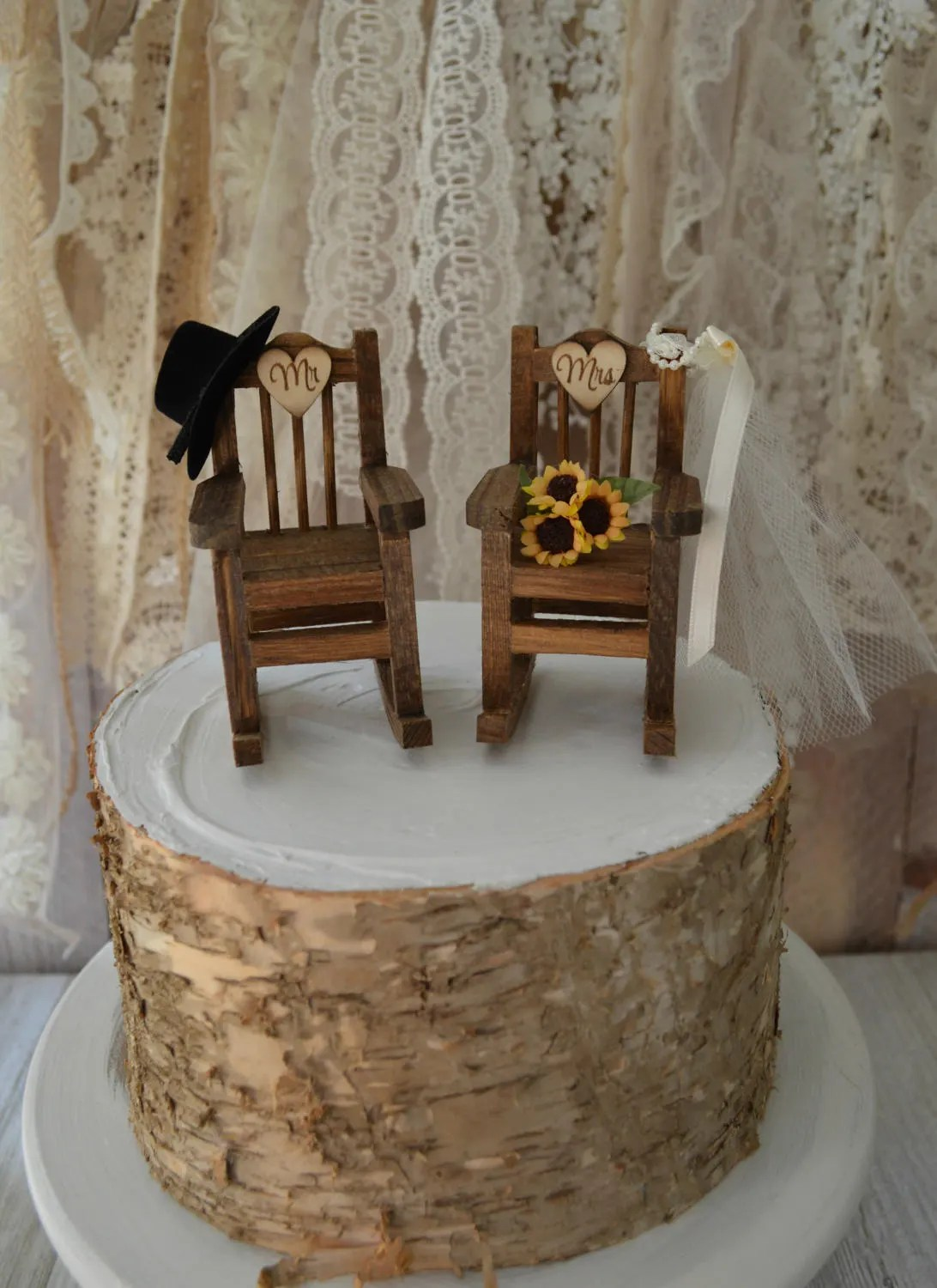 wedding wooden chairs bamboo style dining rocking chair cake topper country weddings rustic