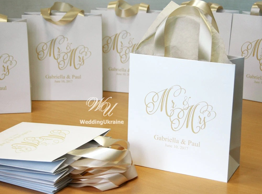 35 Champagne Wedding Welcome Bags With Satin Ribbon And Names