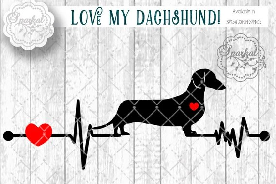 Download Love My Dachshund Svg Cut File Heartbeat Stencil Heart