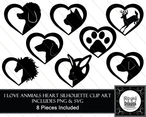 Download I love Animals Heart Silhouette Clip Art 8 Pieces Included
