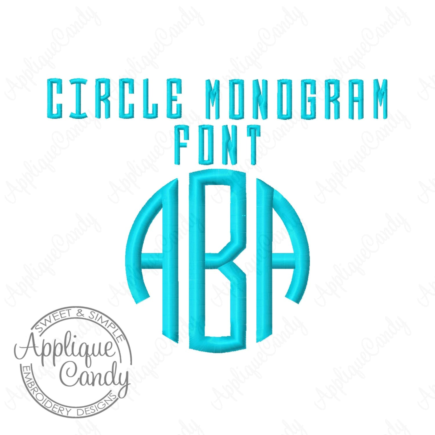 Circle Monogram 3 Letter Embroidery Font