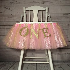 High Chair Tutu 24 Inch Chairs Pink And Gold Skirt Highchair