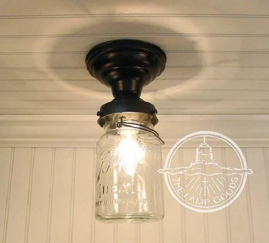 Single Vintage Quart Mason Jar Ceiling LIGHT