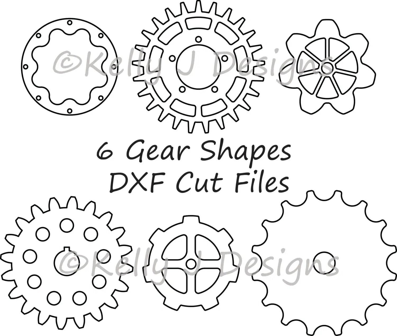 Gear Cut File Gear Dxf Includes 6 Gear Shapes