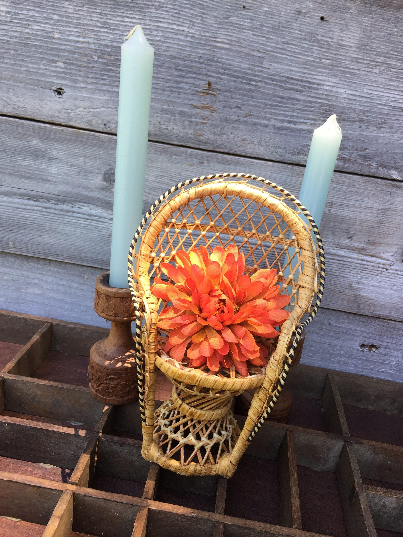 chair planter stand balloon back peacock plant basket boho decor wicker woven