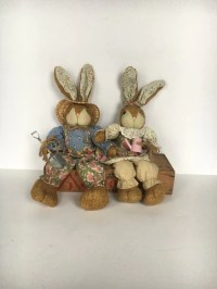 1980s Mr & Mrs Gardening Bunnies Country Decor Stuffed Bunny