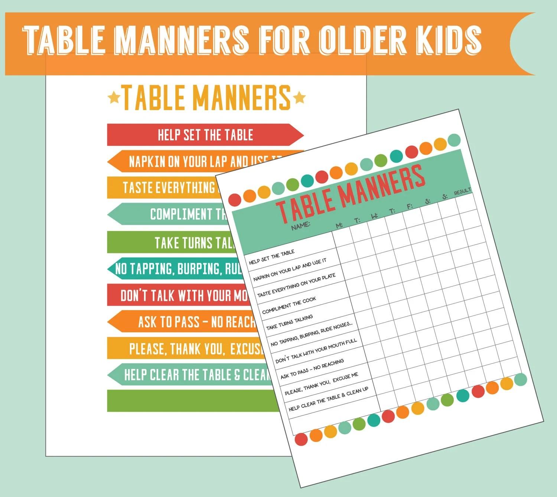 Table Manners For Older Kids Set Of 2 Digital Printables Kids