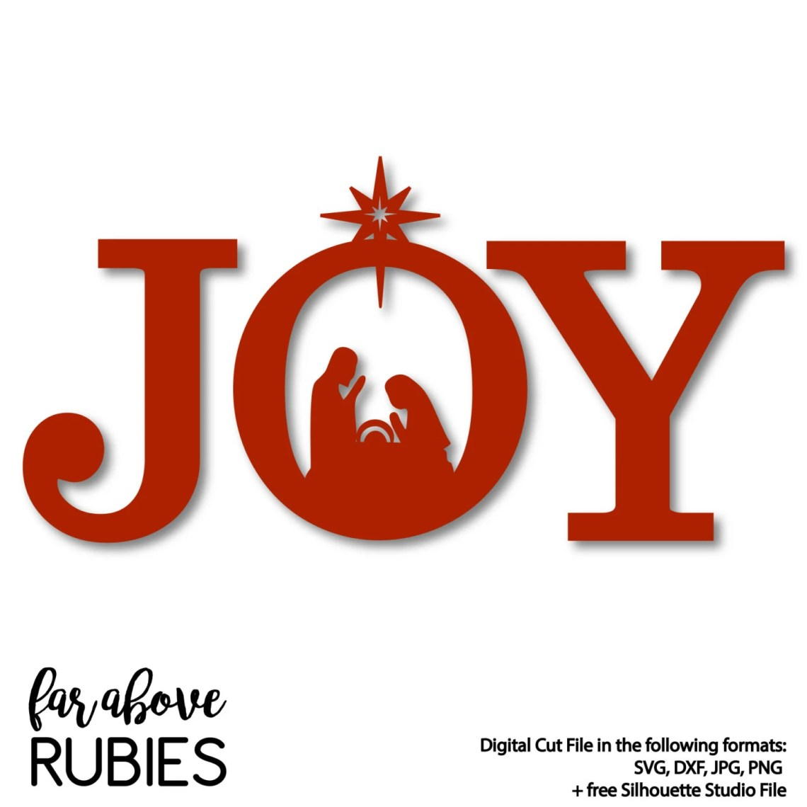 Download JOY Nativity Christmas SVG DXF png jpg digital cut file for
