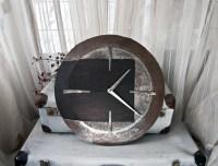 Big wall clock wood and metal industrial clock oak wrought
