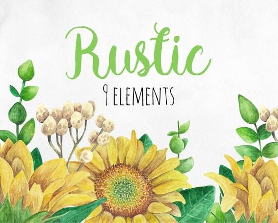 rustic clip art watercolor sunflower