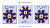 Purple Yellow Kitchen Wall Art Purple Yellow Floral Abstract