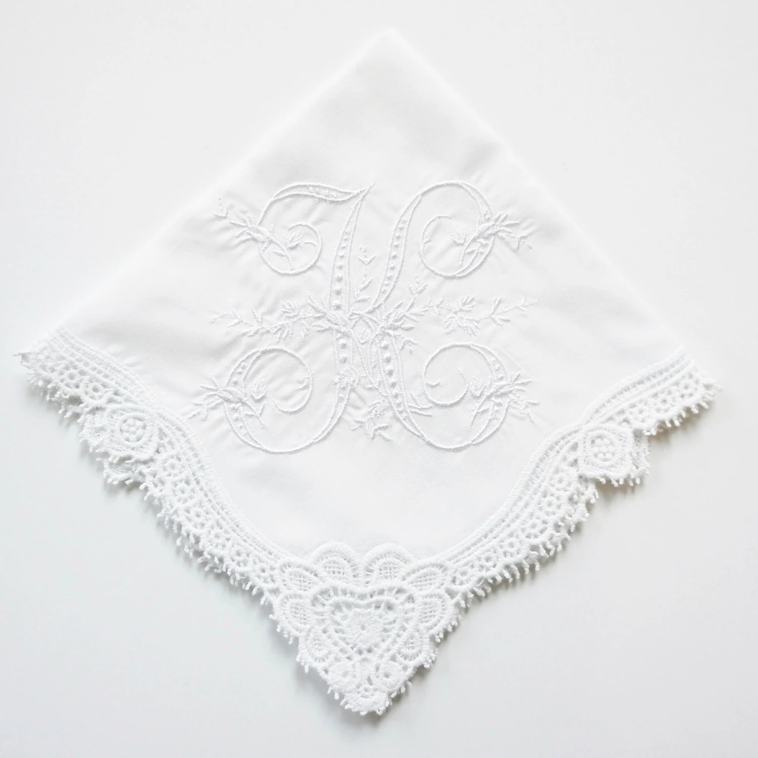 Lace Trim or Hemstitched Edge Handkerchief, Cotton