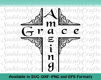 Amazing Grace Vine Cross SVG