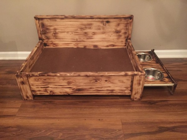 Rustic Wood Dog Bed With Pull Feeding Station Raised