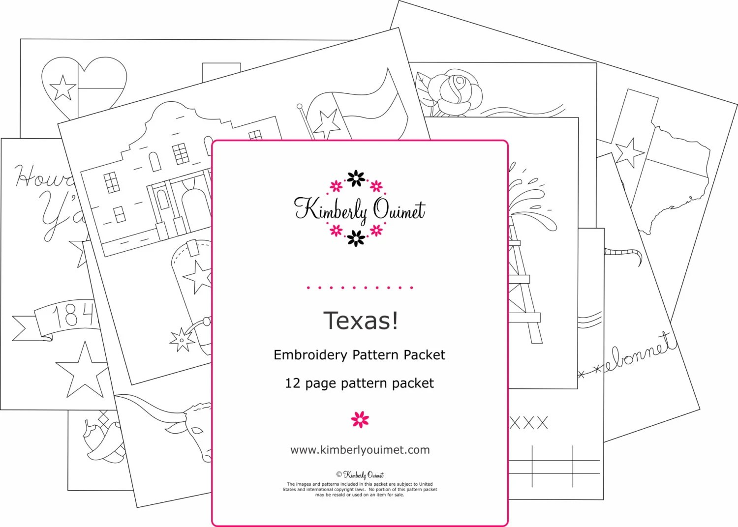 Texas Embroidery Design Texas Embroidery Pattern Hand