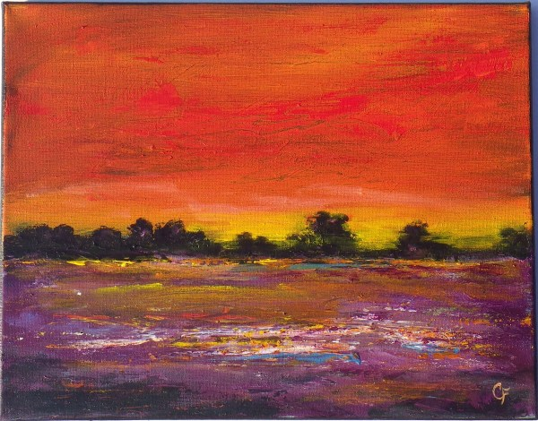 landscape painting of vibrant sunset
