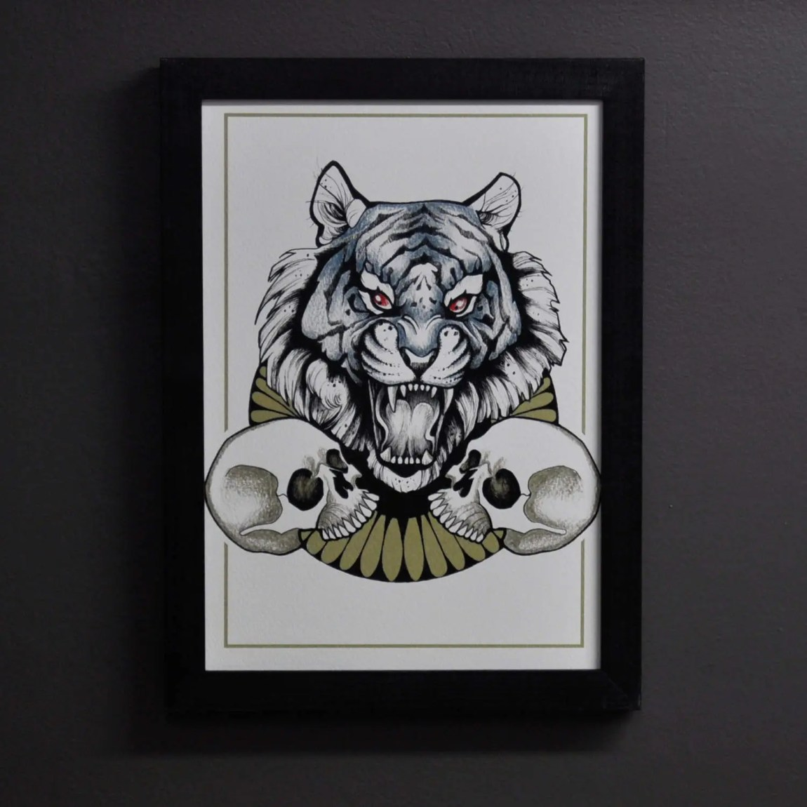 Tiger Two Skull Print, A4...