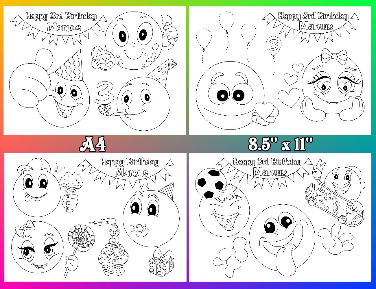 Emoji Coloring Pages Emoji Birthday Party Favor File