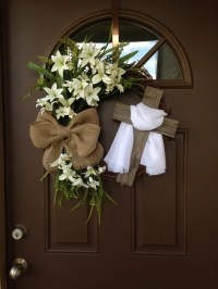Easter Wreath with Cross Rustic Grapevine Easter Wreath with