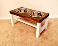 Elevated dog bowl stand STRIPY L handmade wooden dog bowl
