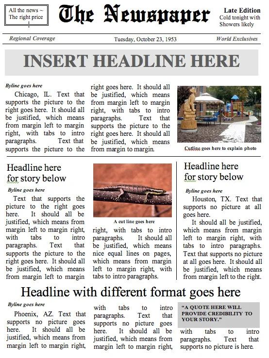 how to get newspaper template on word