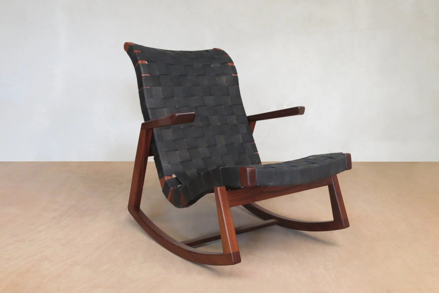 mid century modern rocking chair pier one chairs outdoor walnut black leather