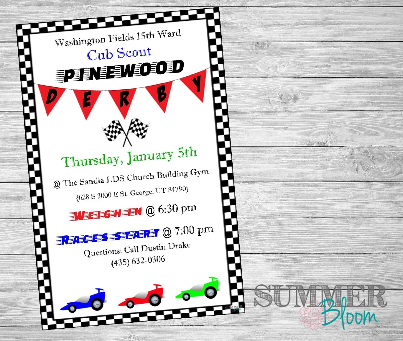Cub Scout S Pinewood Derby Invitation
