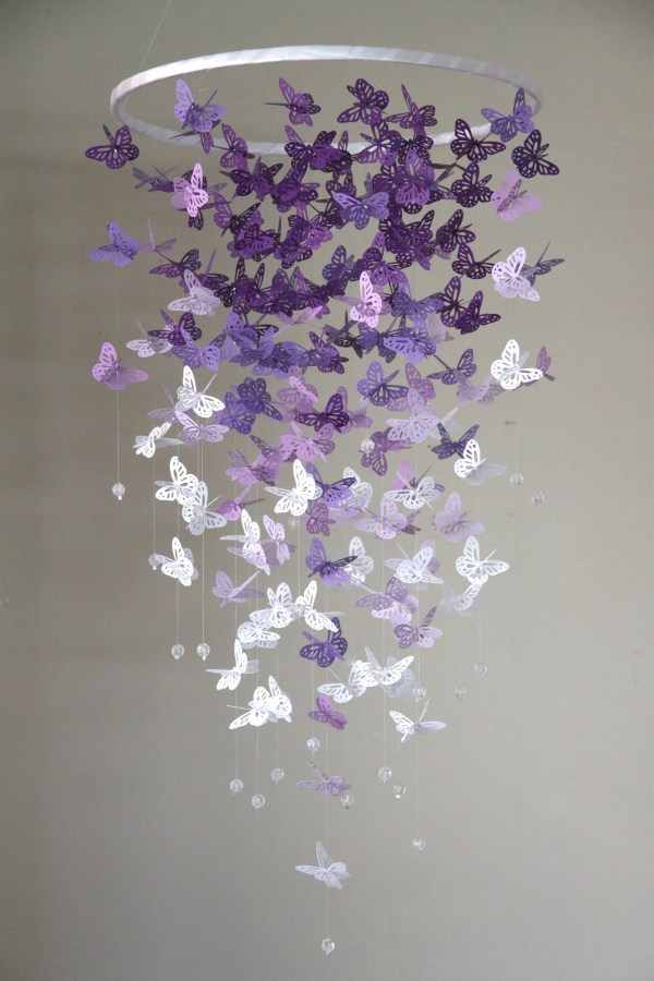 Butterfly Crib Mobile Purple And White Butterflies Kids
