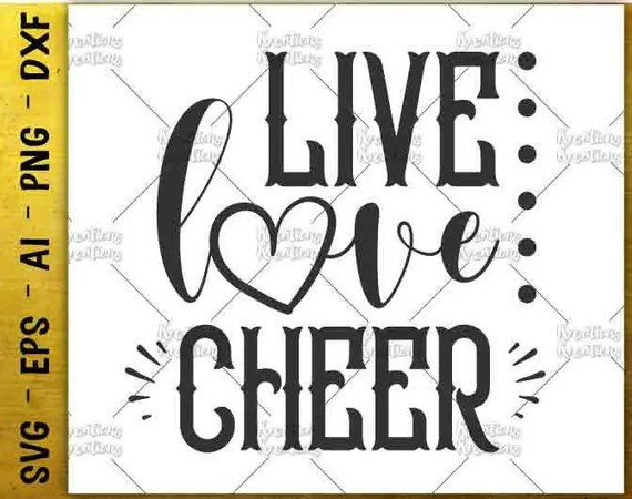 Download Live Love Cheer svg cheer cut cutting cuttable Files tee