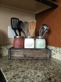 Mason jar utensil holder kitchen utensil storage utensil