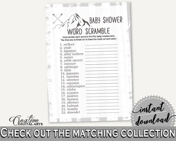 Word Scramble Baby Shower Word Scramble Adventure Mountain