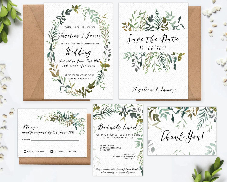 Digital Wedding Invitation Leafy Greenery Watercolor printable