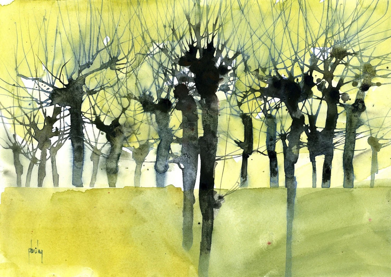 Original Watercolour Tree Painting Dead Pollards