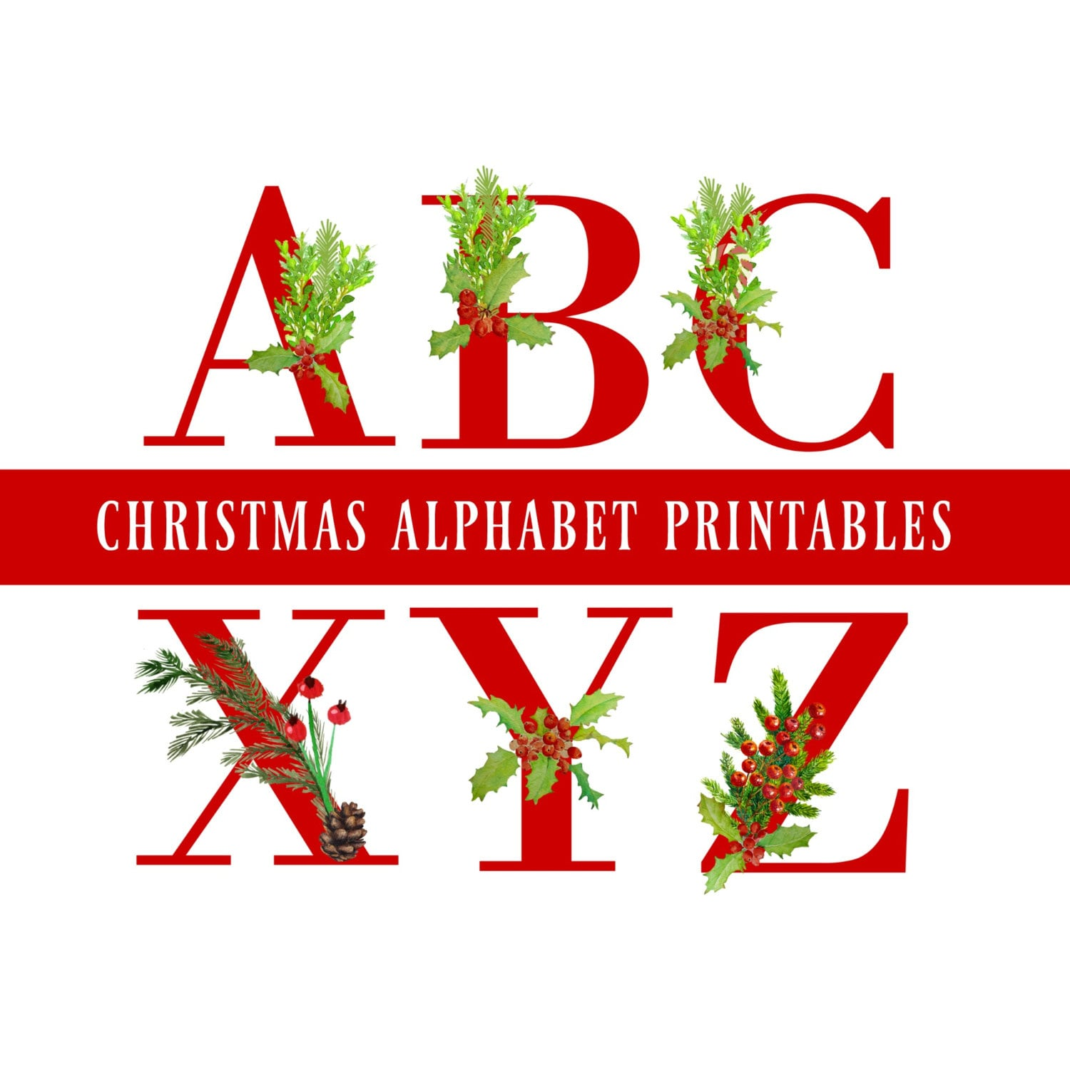 Red Christmas Alphabet Amp Number Printables Christmas Alphabet