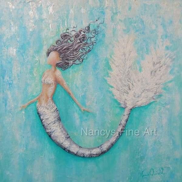 Abstract Teal Mermaid Art Original Painting Square