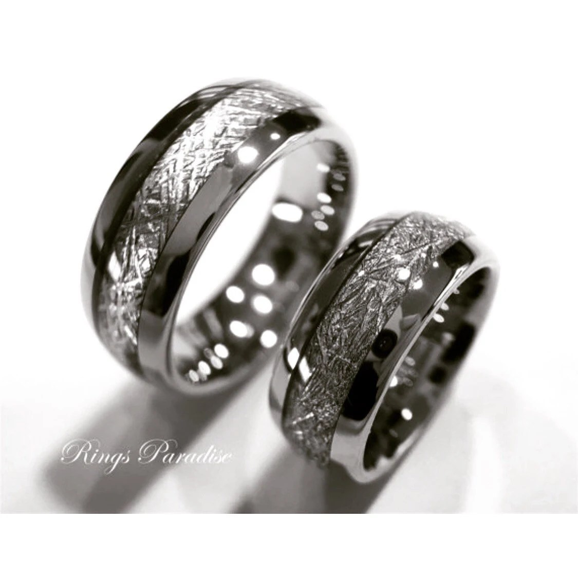 Matching Wedding Bands Meteorite Inlay Rings His by RingsParadise