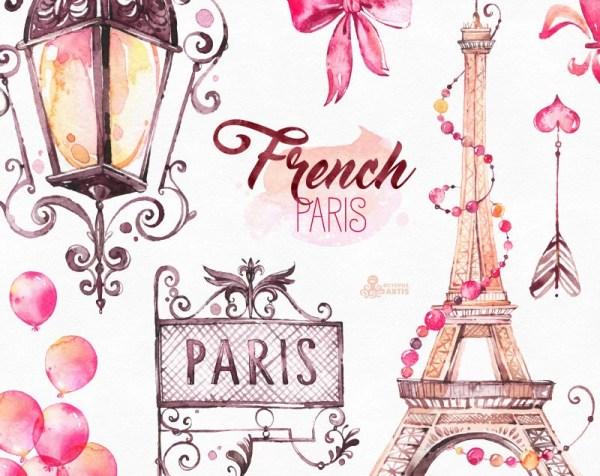 french paris. watercolor clipart